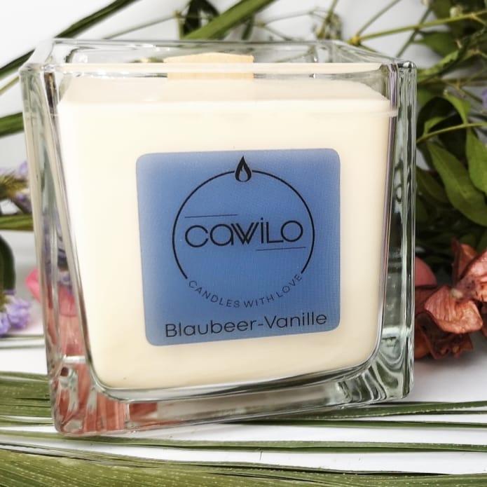 Die Blaubeer-Vanille Kerze ist ein fruchtiger Duft ohne ätherischen Öl.